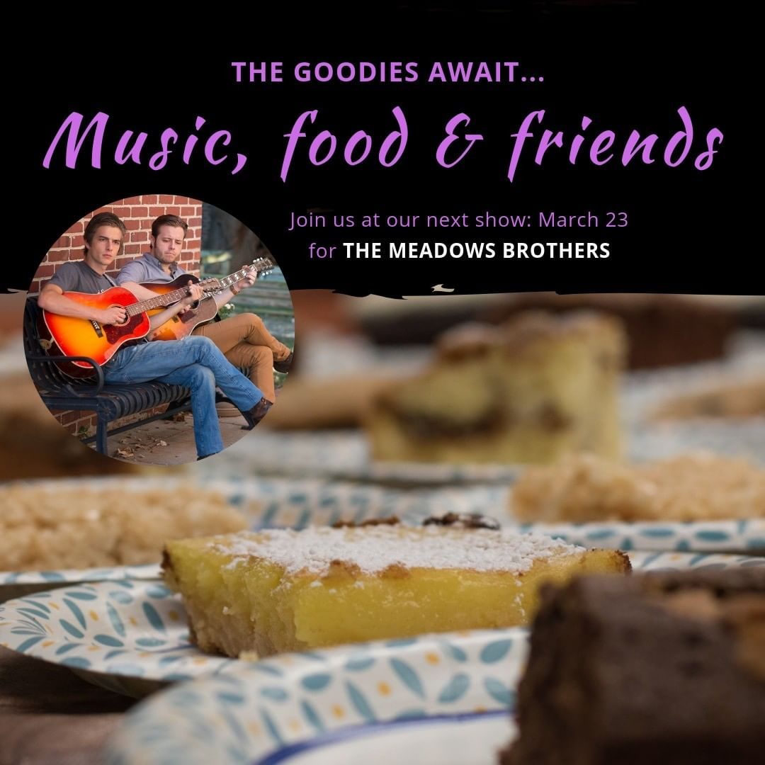 Music and food, what a great combo! Join us for The Meadows Brothers, Saturday, March 23. Twang-roots, folk, country and more. http://bit.ly/RG19meadowsbrothers  @themeadowsbrothers