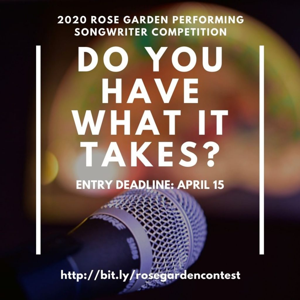 We never promised you a Rose Garden... but you never know, you might just win our 28th annual Performing Songwriter Competition! Entry deadline is April 15. Contest details and entry form: http://bit.ly/rosegardencontest