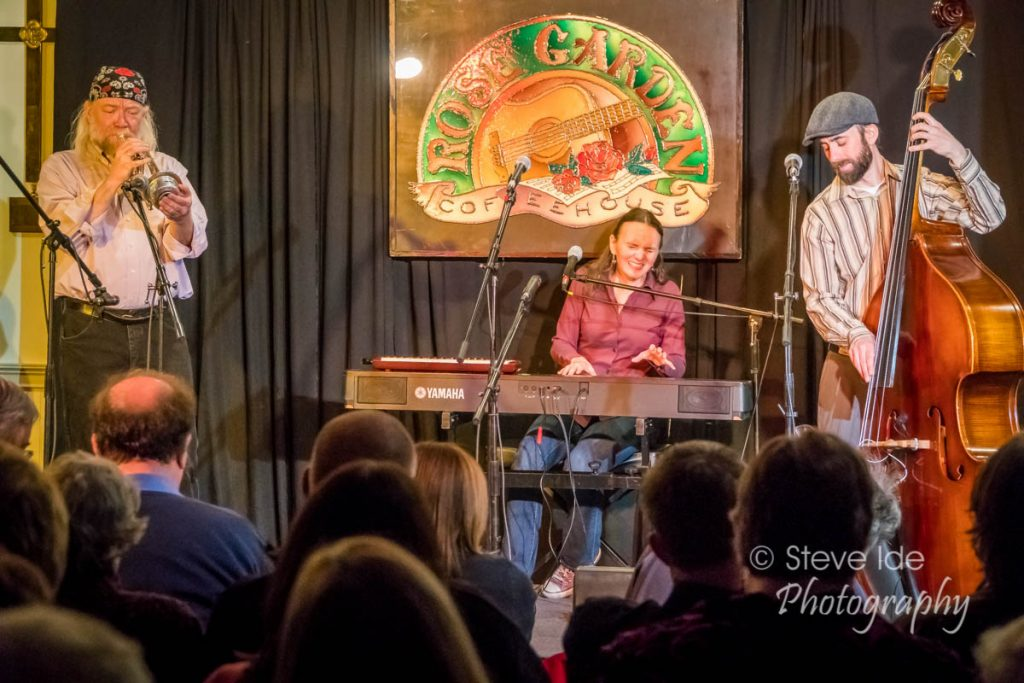 The Heather Pierson Acoustic Trio performs at the Rose Garden on March 24, 2018. Photo by Stephen Ide