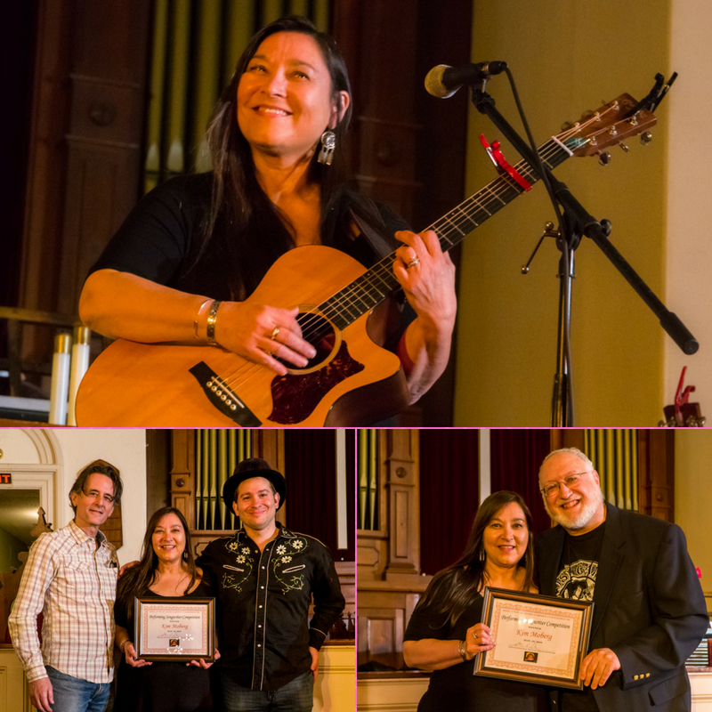 Kim Moberg, of Barnstable, Mass., wins the 2018 Rose Garden Performing Songwriter Competition. The other finalists were D.B. Rielly and Dave Falk. Photos by Jared Ide