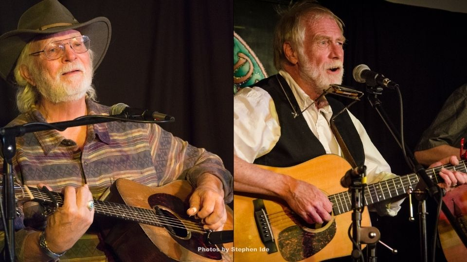 Bill Staines, left and David Mallett perform at the Rose Garden Coffeehouse in 2016 and 2014, respectively. Photos by Stephen Ide