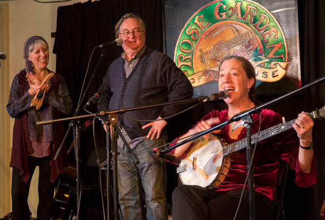 The Atwater-Donnlly Trio perform Nov. 18, 2017 at the Rose Garden. From left, the trio includes, Cathy Clasper-Torch, Elwood Donnelly and Aubrey Atwater. Photo copyright © 2017 Stephen Ide