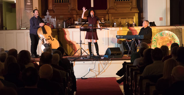 Abbie Gardner performs at the Rose Garden on Jan. 27, 2018. From left, Craig Akin (bass), Abbie (dobro) and Herb Gardner (keyboard). Photo Copyright ©2018 Stephen Ide