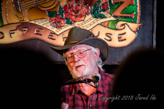 Bill Staines performs at the Rose Garden Coffeehouse, Mansfield, Mass., on Nov. 17, 2018. Photo by Jared Ide