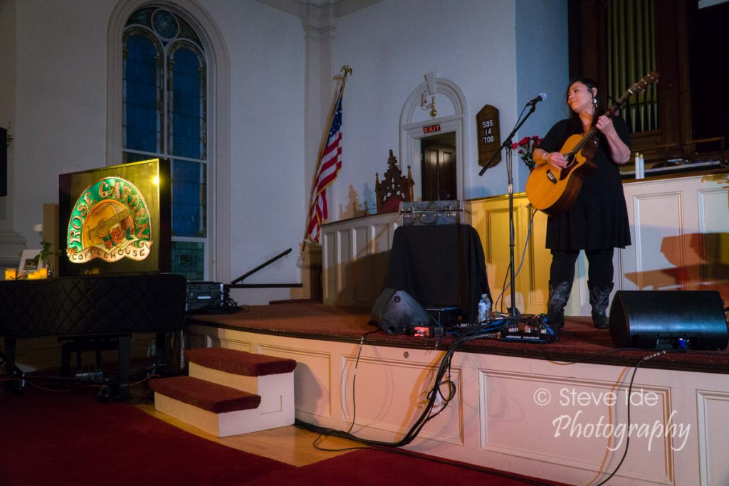 Kim Moberg performs as a finalist during the 2018 Performing Songwriter Competition at the Rose Garden Coffeehouse in Mansfield, Mass., on Saturday, May 19, 2018. Moberg was chosen as the winner by the Rose Garden judges. Photo © Copyright 2018 Stephen Ide
