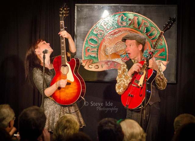 Maura and Pete Kennedy perform at the Rose Garden Coffeehouse in 2013. Photo by Stephen Ide.